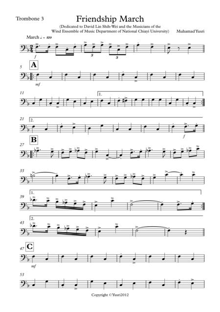 Friendship March (Trombone 3 Part)