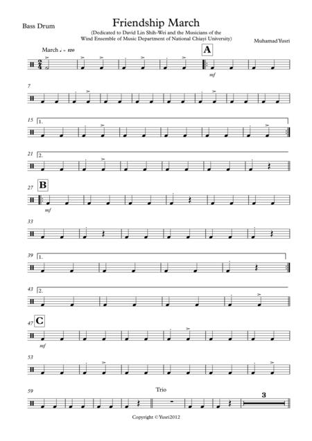 Friendship March (Bass Drum Part)
