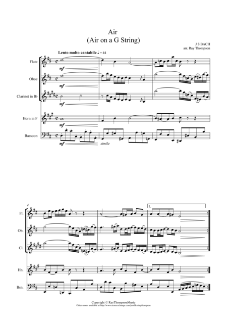 Air from Orchestral Suite in D BWV 1068 ('Air on a G String') arranged wind quintet