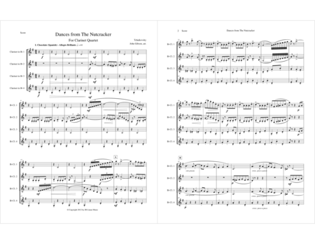 Six Dances from The Nutcracker by Tchaikowsky for Clarinet Quartet