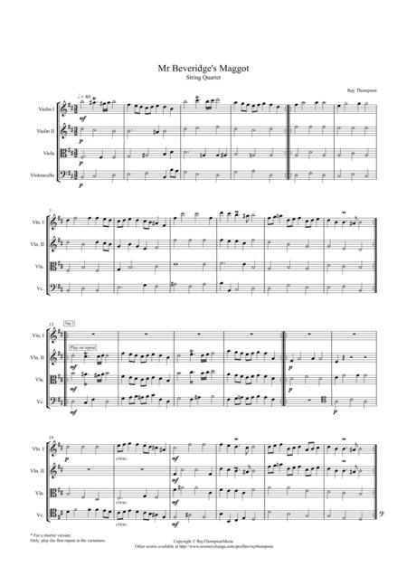 Mr Beveridge's Maggot (Theme and Variations) - string quartet