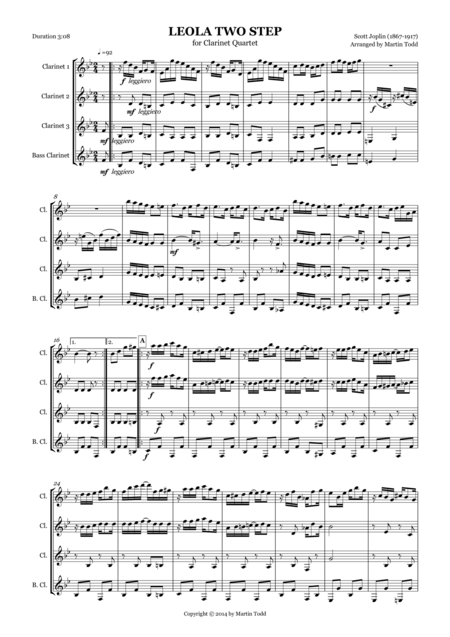 Leola Two Step for Clarinet Quartet