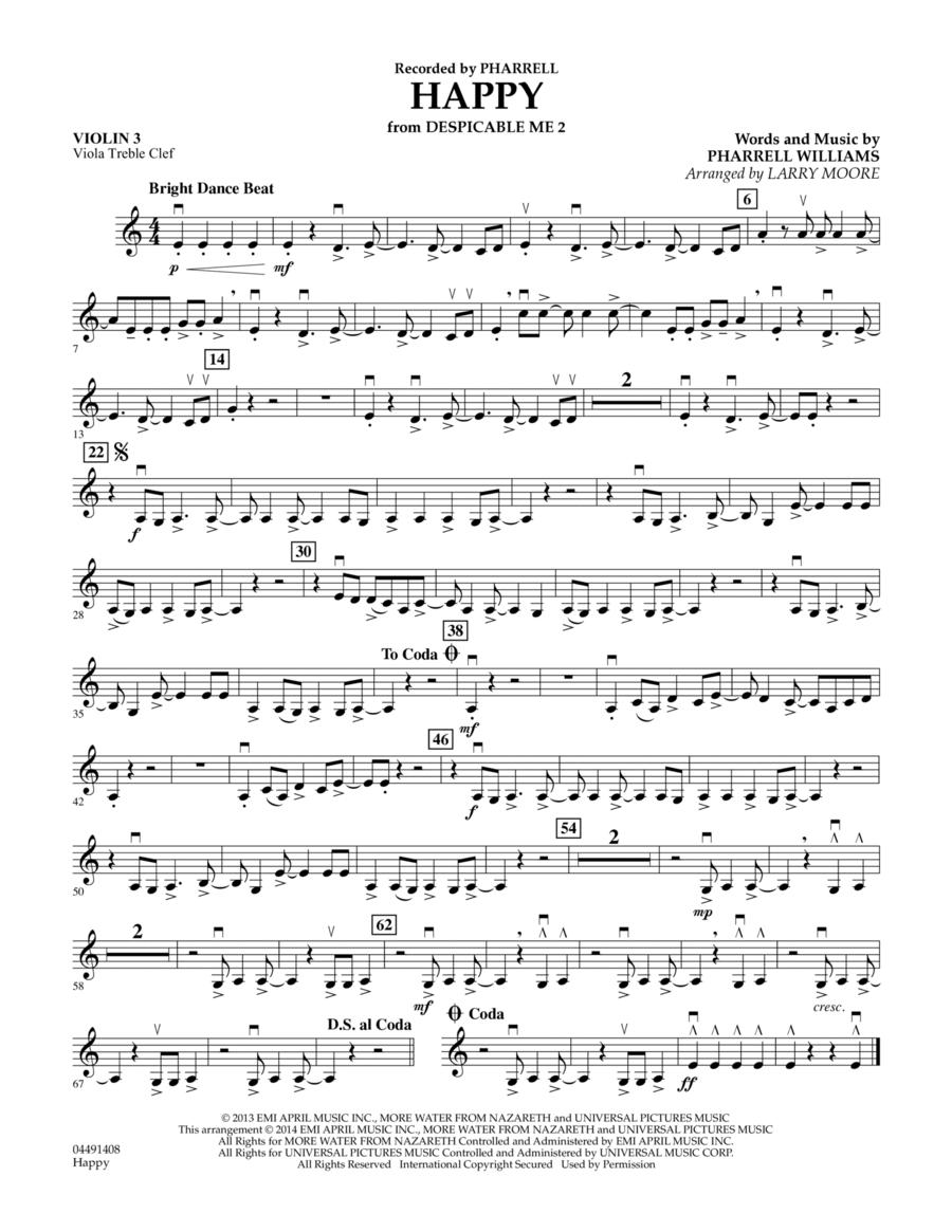 Happy (from Despicable Me 2) - Violin 3 (Viola Treble Clef)