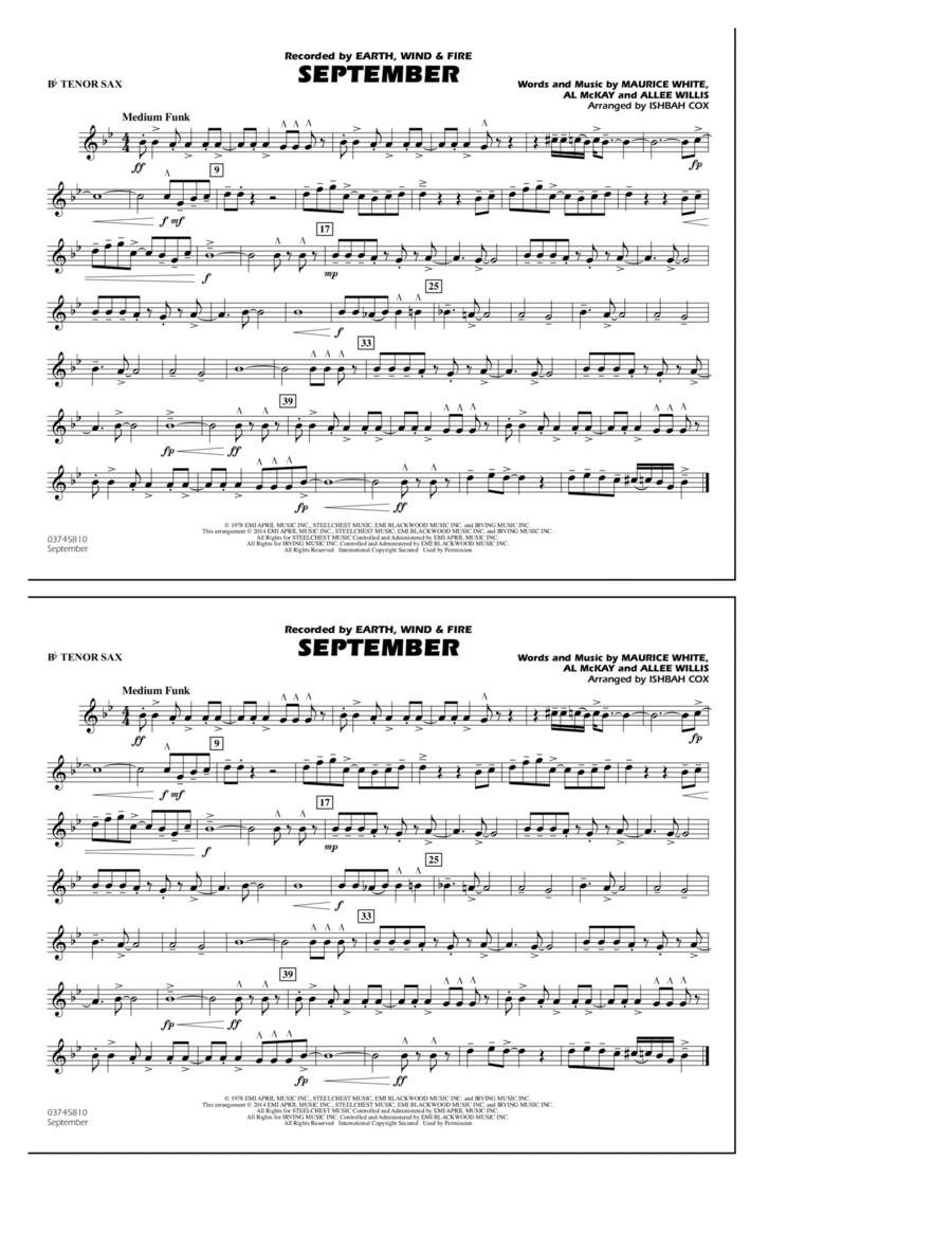 September - Bb Tenor Sax