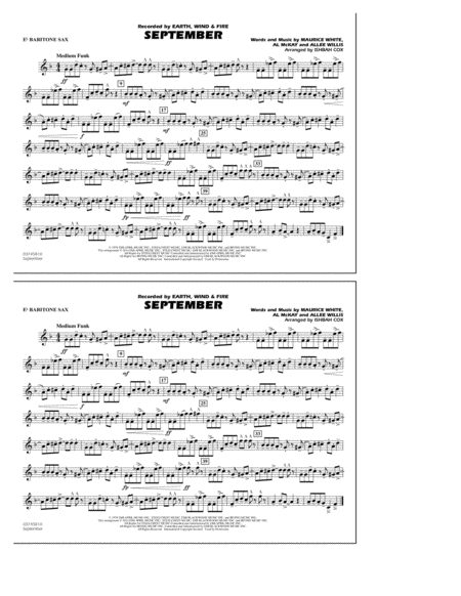 September - Eb Baritone Sax