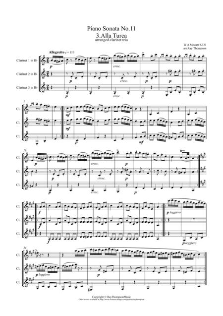 Mozart: Piano Sonata No.11 in A K331 Mvt. III. Rondo Alla Turca (Turkish March) - clarinet trio