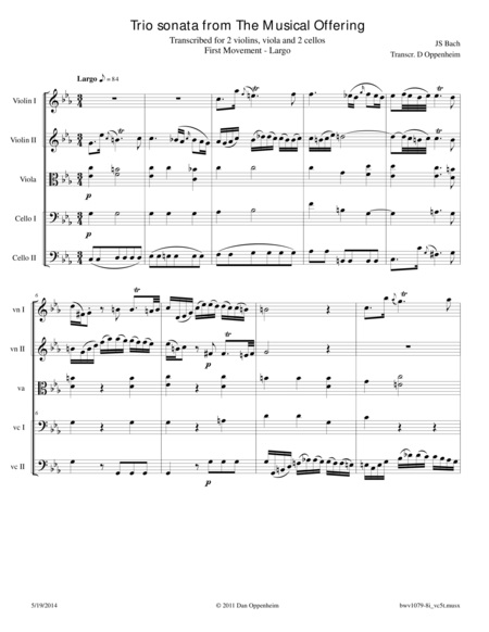 Bach: Trio Sonata from The Musical Offering Movement I, arr. for 2 Violins, Viola and 2 Cellos.