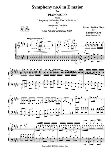 Bach C.P.E. Symphony no.6 in E major - Piano version