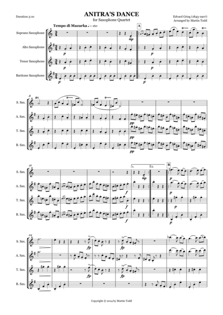 Anitra's Dance from Peer Gynt Suite No. 1 for Saxophone Quartet