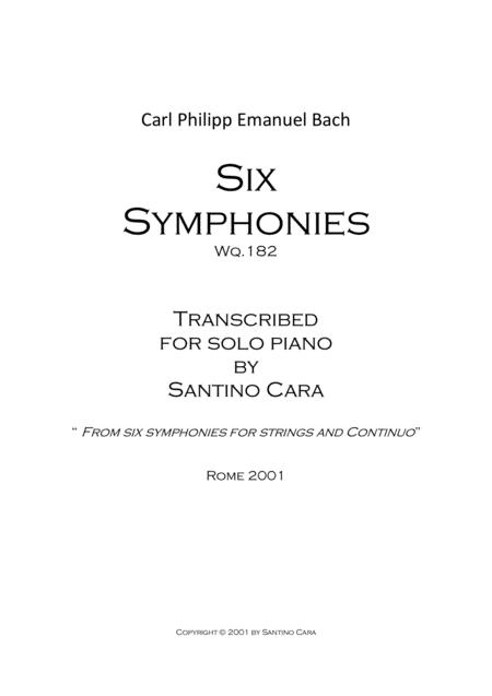 Bach C.P.E - Six symphonies - Piano version