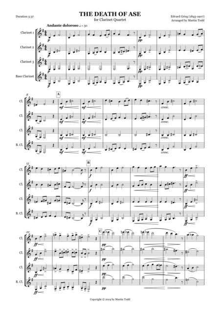 The Death of Ase from Peer Gynt Suite No. 1 for Clarinet Quartet