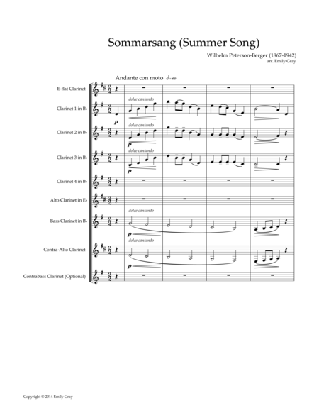 Sommarsang (Summer Song) for Clarinet Choir (Score)