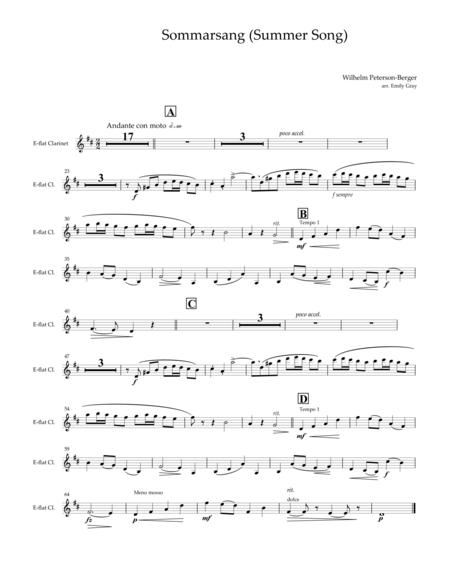 Sommarsang (Summer Song) for Clarinet Choir (Parts)