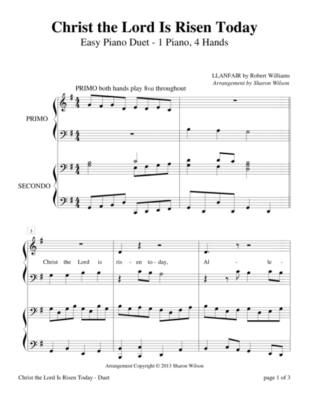 Christ the Lord Is Risen Today (Easy Piano Duet; 1 Piano, 4 Hands)