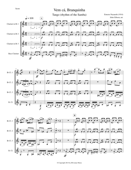 Clarinet quartet - Tango by Ernesto Nazareth