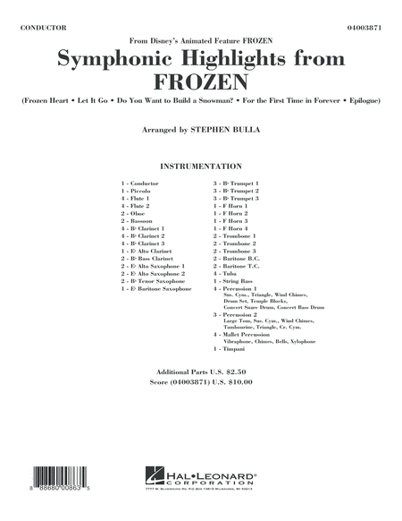 Symphonic Highlights from Frozen - Conductor Score (Full Score)