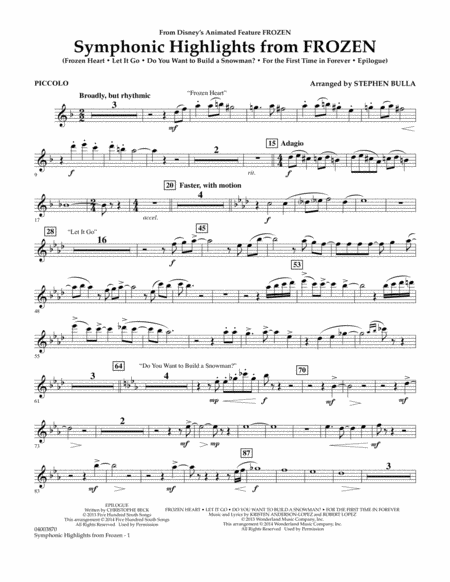 Symphonic Highlights from Frozen - Piccolo