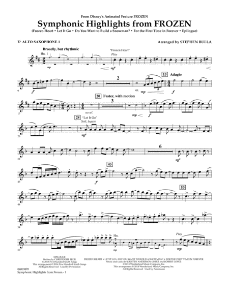 Symphonic Highlights from Frozen - Eb Alto Saxophone 1