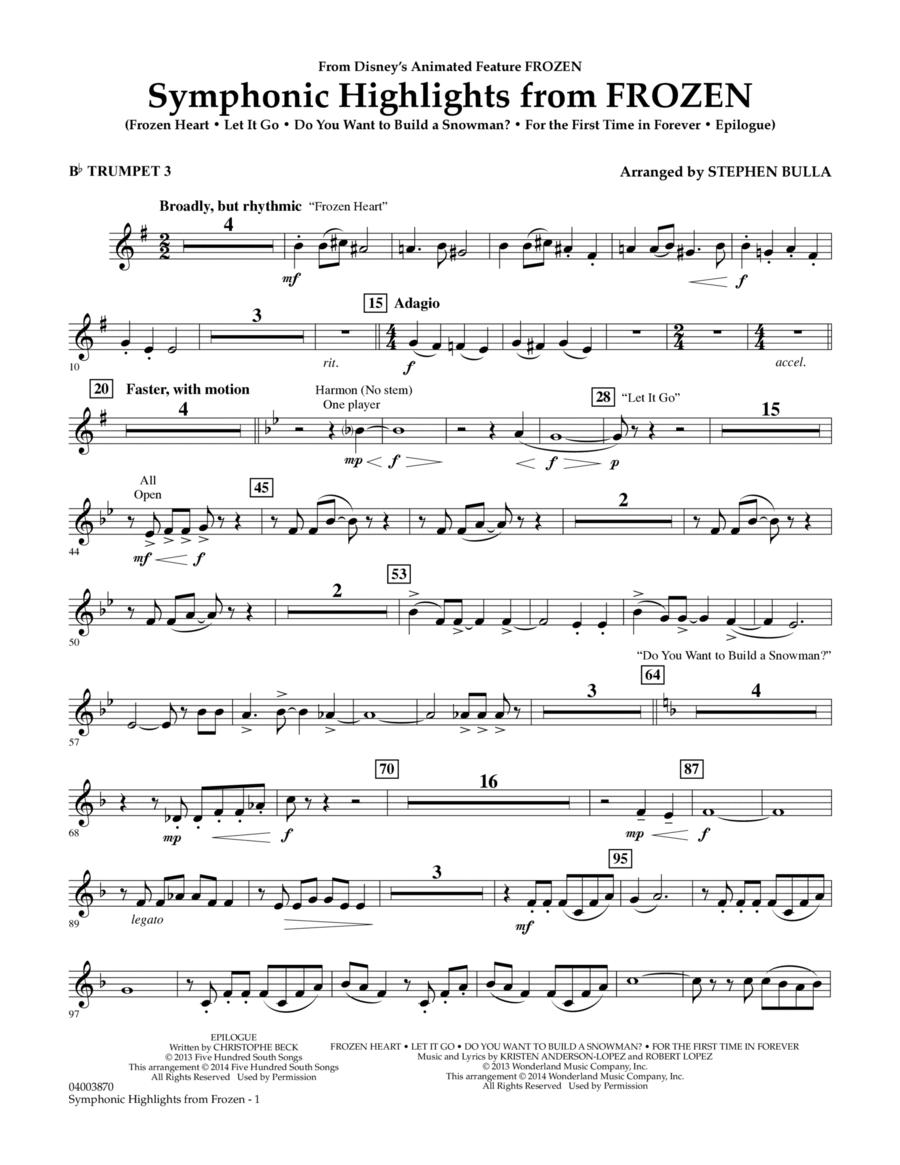 Symphonic Highlights from Frozen - Bb Trumpet 3