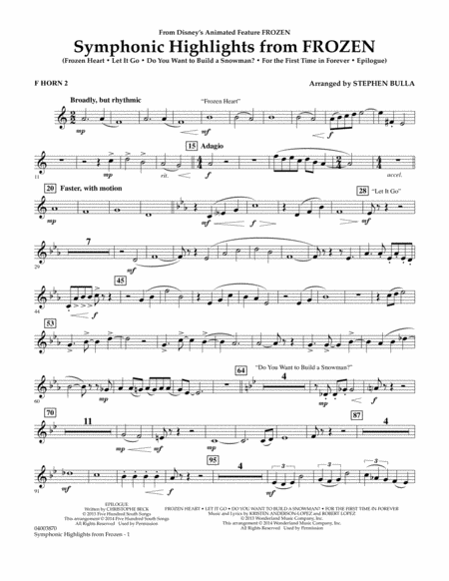 Symphonic Highlights from Frozen - F Horn 2