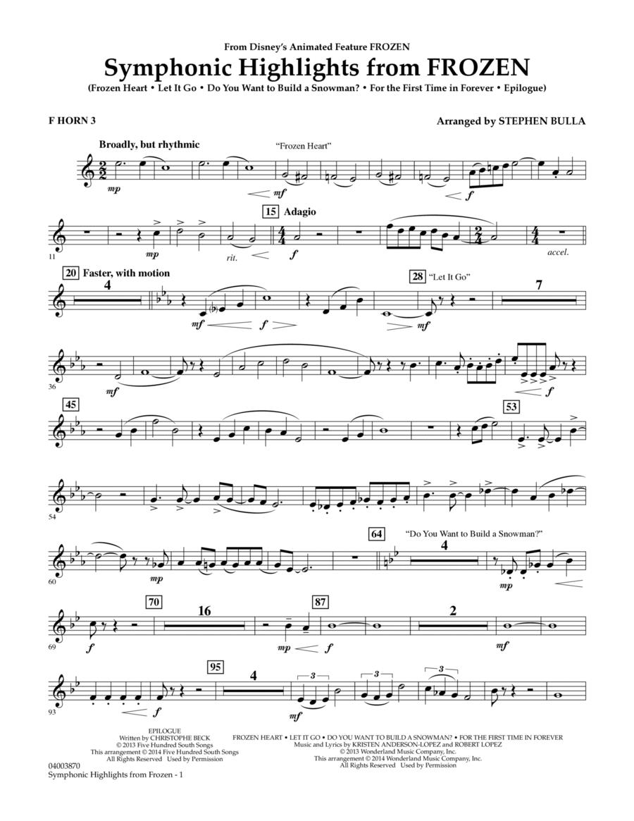 Symphonic Highlights from Frozen - F Horn 3