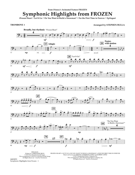 Symphonic Highlights from Frozen - Trombone 1