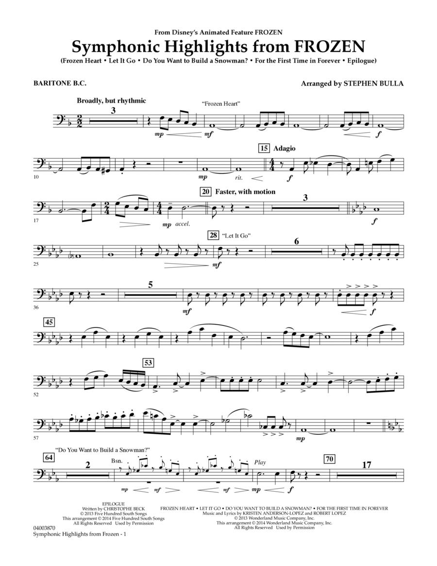 Symphonic Highlights from Frozen - Baritone B.C.