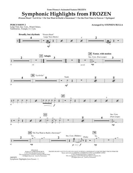 Symphonic Highlights from Frozen - Percussion 2