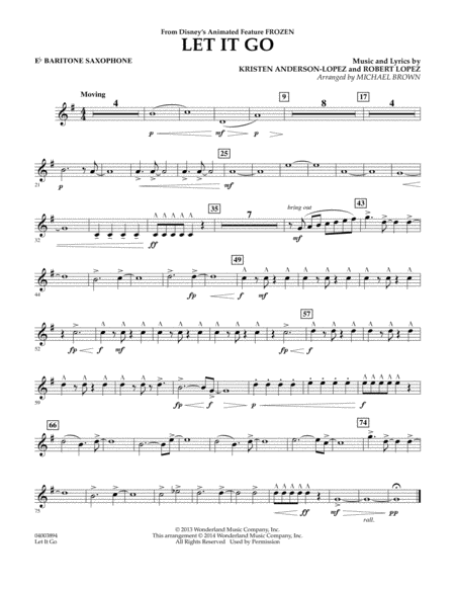 Let It Go - Eb Baritone Saxophone