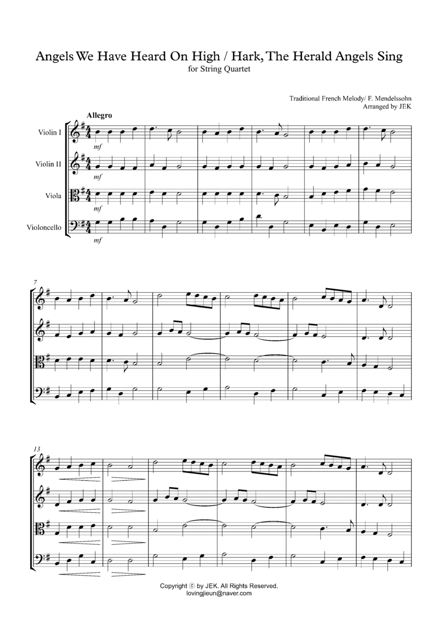 HYMN FOR STRING QUARTET - Angels We Have Heard On High/ Hark, The Herald Angels Sing