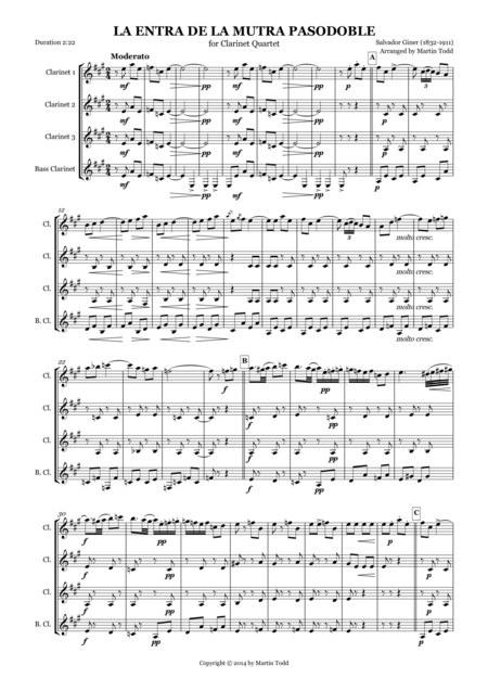 La Entra de la Mutra Pasodoble for Clarinet Quartet