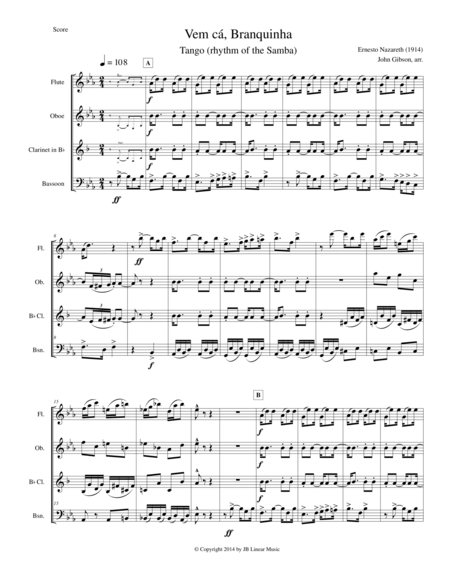 Woodwind quartet - Tango by Ernesto Nazareth