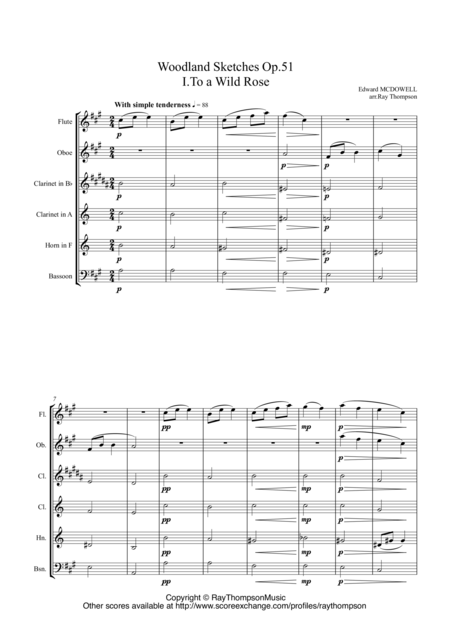 MacDowell: Woodland Sketches Op.51 (including To a Wild Rose): Nos. 1, 3 & 4  - wind quintet