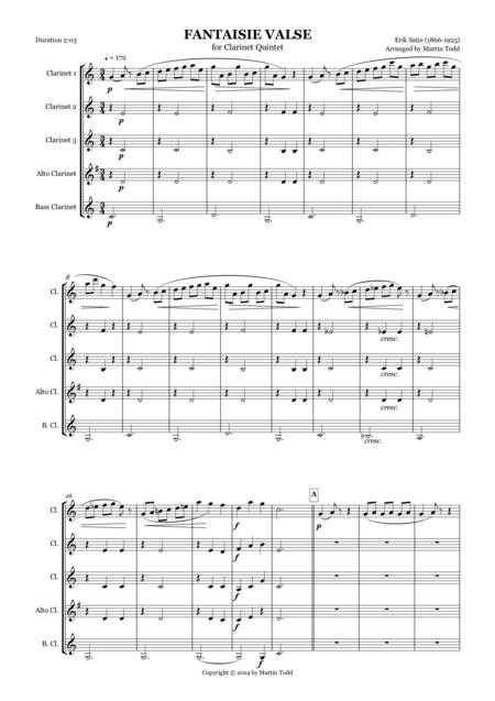 Fantaisie Valse for Clarinet Quintet