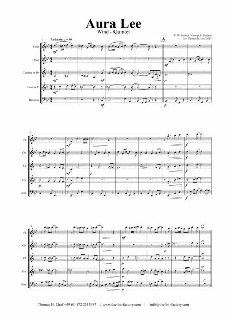 Aura Lee ( Love me tender ) - Wind Quintet