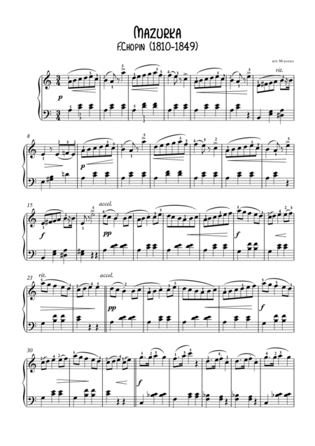 Mazurka opus 7-3 by Chopin for easy piano