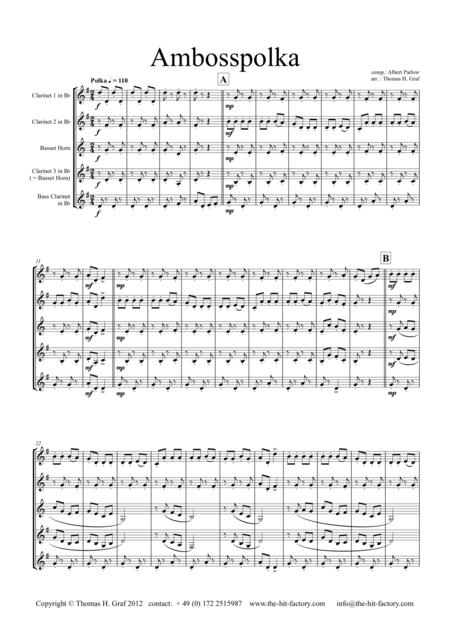 Amboss-Polka - German Polka - Oktoberfest - Clarinet Quartet