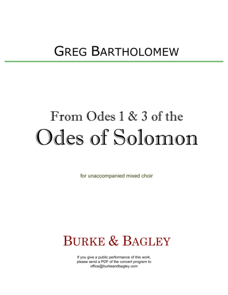 From Odes 1 & 3 of the Odes of Solomon