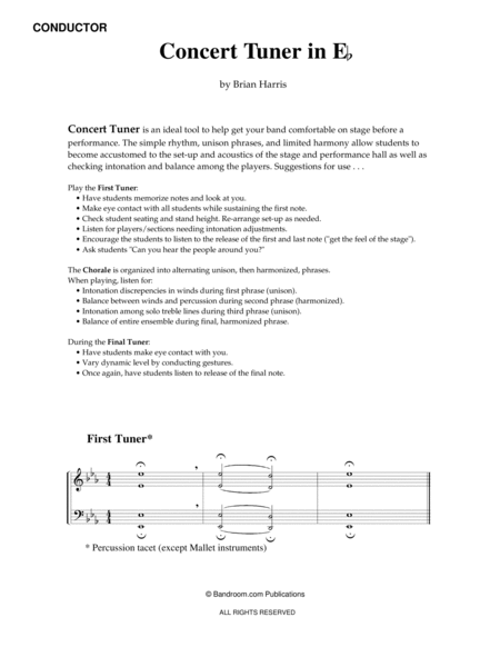 Concert Tuner in E-flat (concert band; very easy; score & parts; warm up)