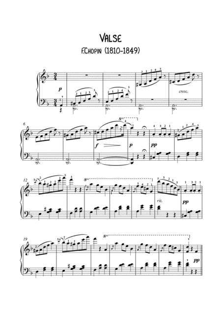 Waltz posthume by Chopin for easy piano