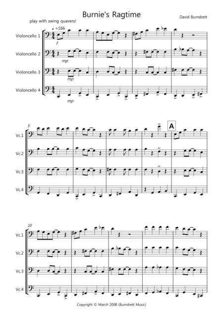 Burnie's Ragtime for Cello Quartet