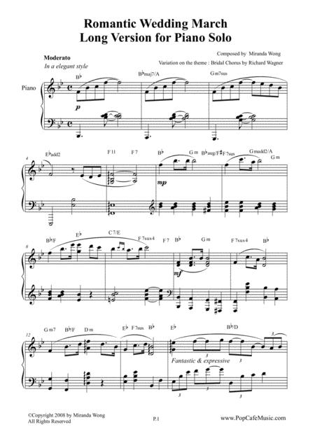 Wedding March By Miranda Wong Long Version For Piano Solo