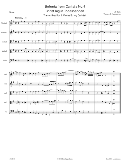 Bach: Sinfonia from Cantata No. 4 transcribed for String Quintet