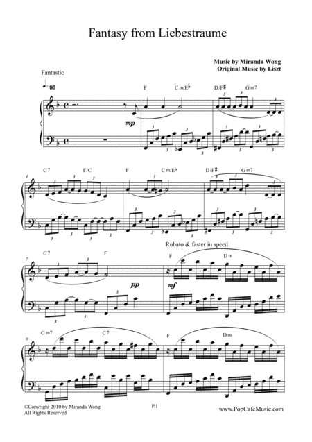Liebestraum (Dreams of Love) - Fantasy from Liebestraume for Piano Solo