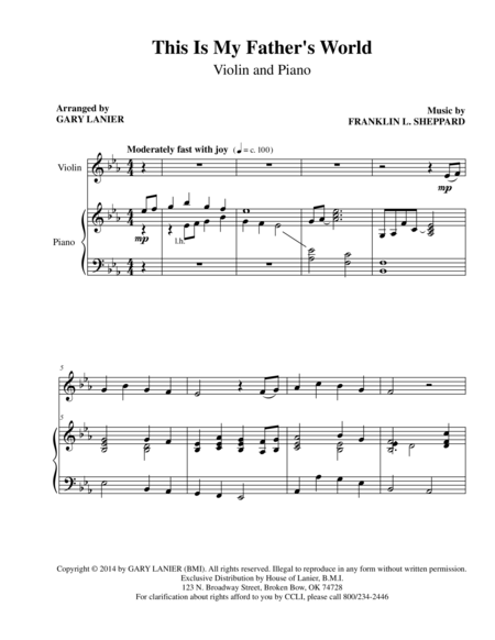 This Is My Father's World (Violin Pn Parts)