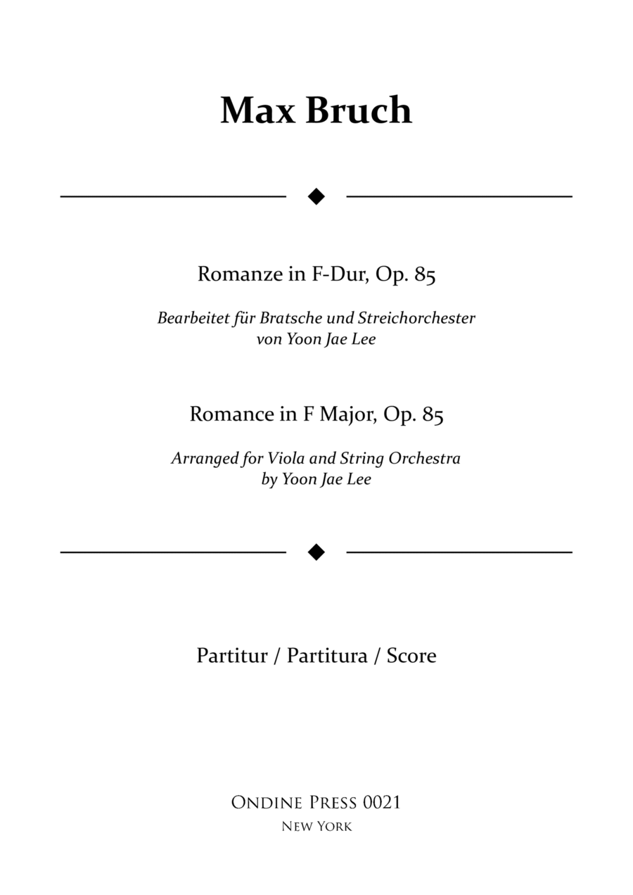 Bruch (arr. Lee): Romance in F Major for Viola and String Orchestra, Op. 85, Full Score
