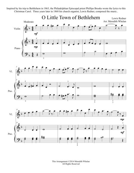 Christmas Duets for Violin & Piano:  Little Town of Bethlehem