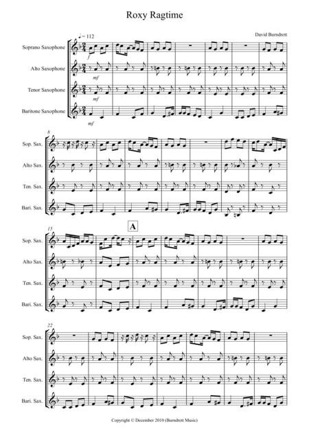 Roxy Ragtime for Saxophone Quartet