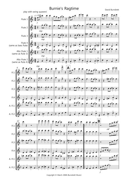 Burnie's Ragtime for Flute Quartet