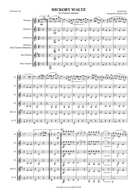 Hickory Waltz for Clarinet Quintet